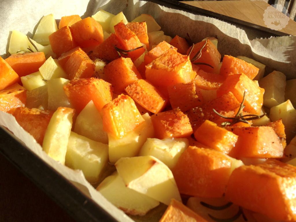 Contorno di zucca e patate al forno