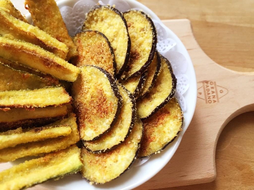 Chips di melanzane e zucchine al forno