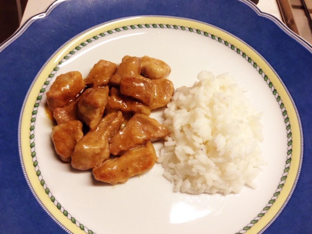Bocconcini di maiale con riso