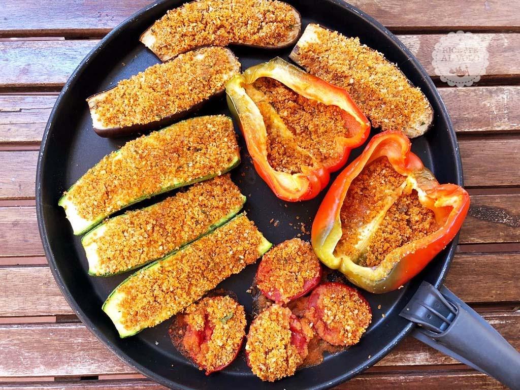 Verdure gratinate veloci con piatto Crisp - microonde