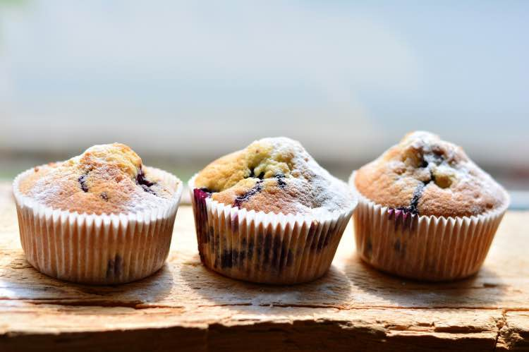 Muffin ai mirtilli con olio di semi