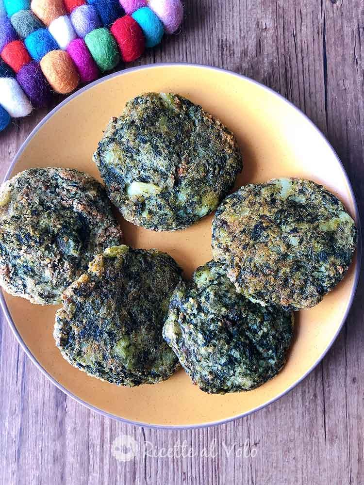 Burger vegetali di spinaci e patate