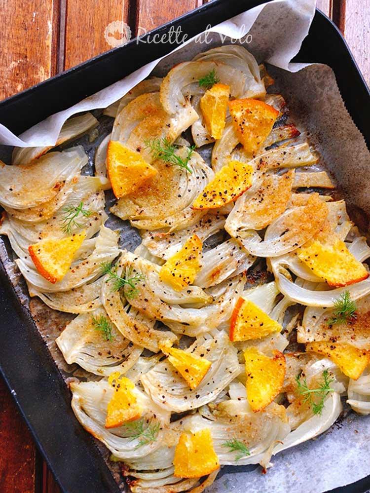 Finocchi al forno profumati all'arancia