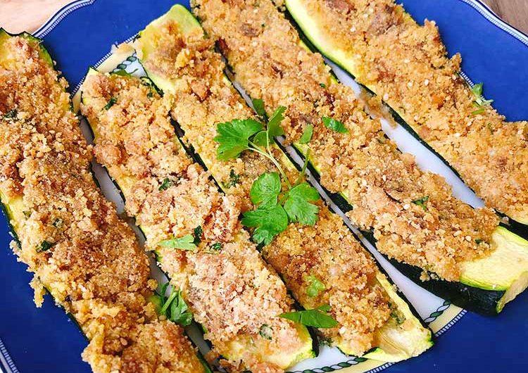 Zucchine con tonno e pangrattato al forno
